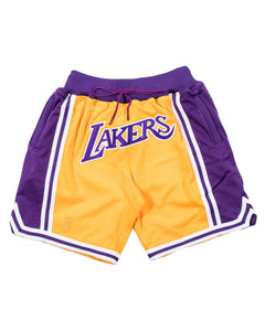 YELLOW AND PURPLE LOS ANGELES BASKETBALL SHORTS