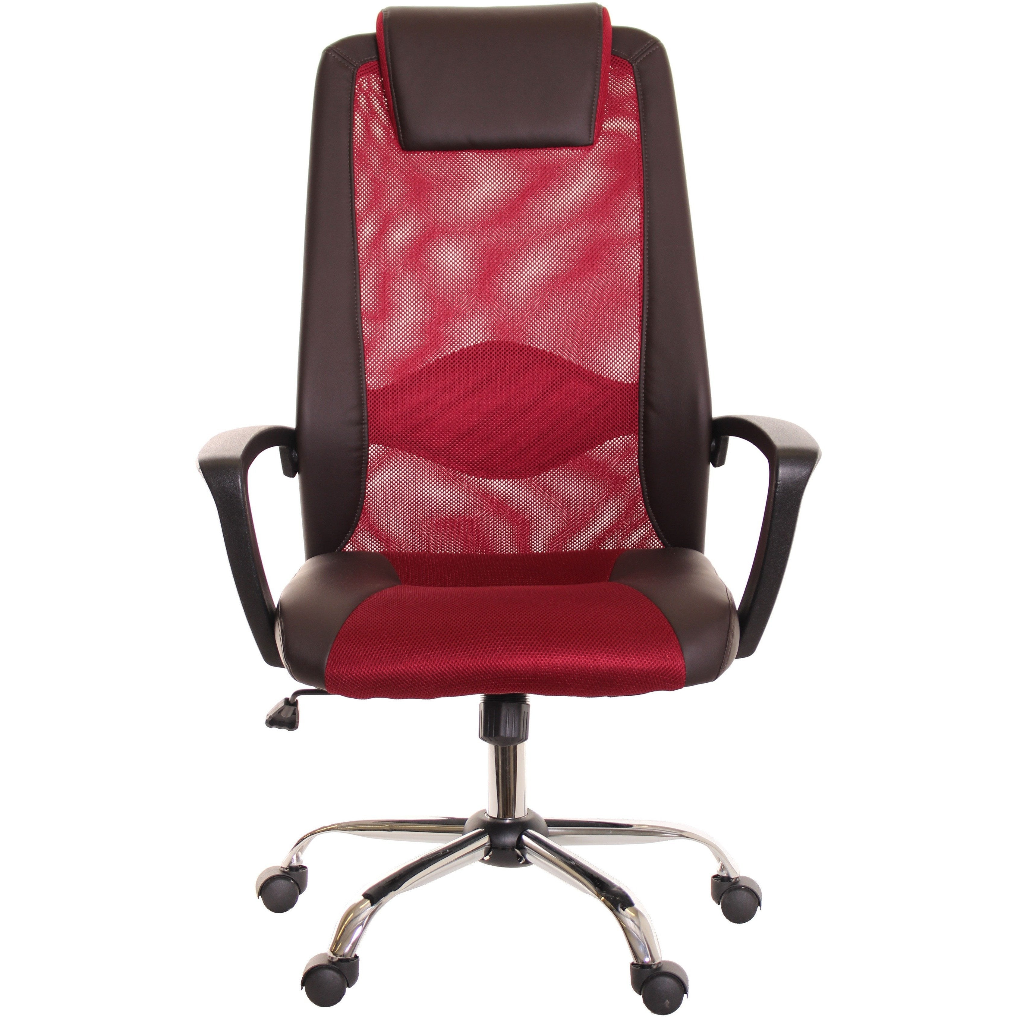 Brown U0026 Red Mesh And Leather Task Office Chair With Headrest By TimeOffice