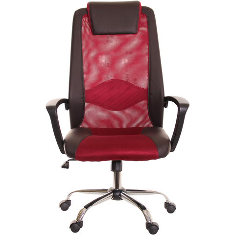 Brown & Red Mesh and Leather Task Office Chair with Headrest by TimeOffice