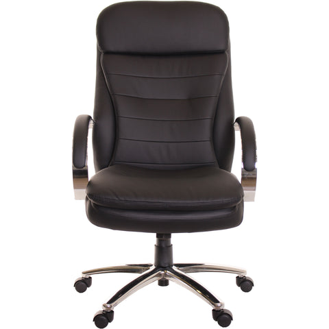 Executive Leather Ergonomic Chair High Back Chrome Base Black Chair  TimeOffice