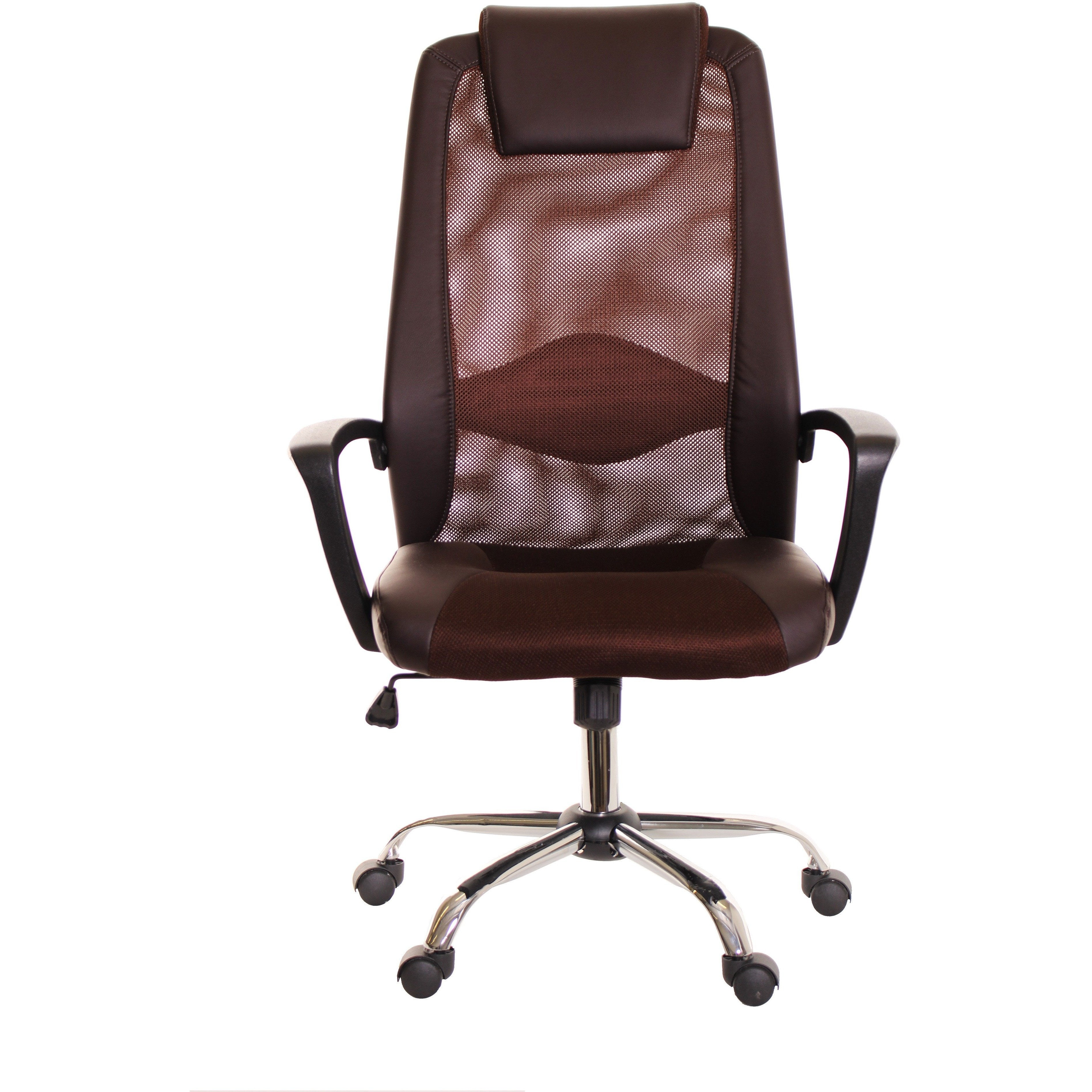 Brown Mesh and Leather Task fice Chair with Headrest by