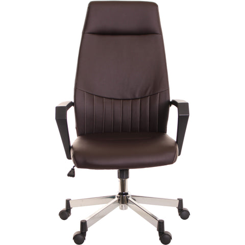 High Back Leather Task Chair Ergonomic Brown by TimeOffice