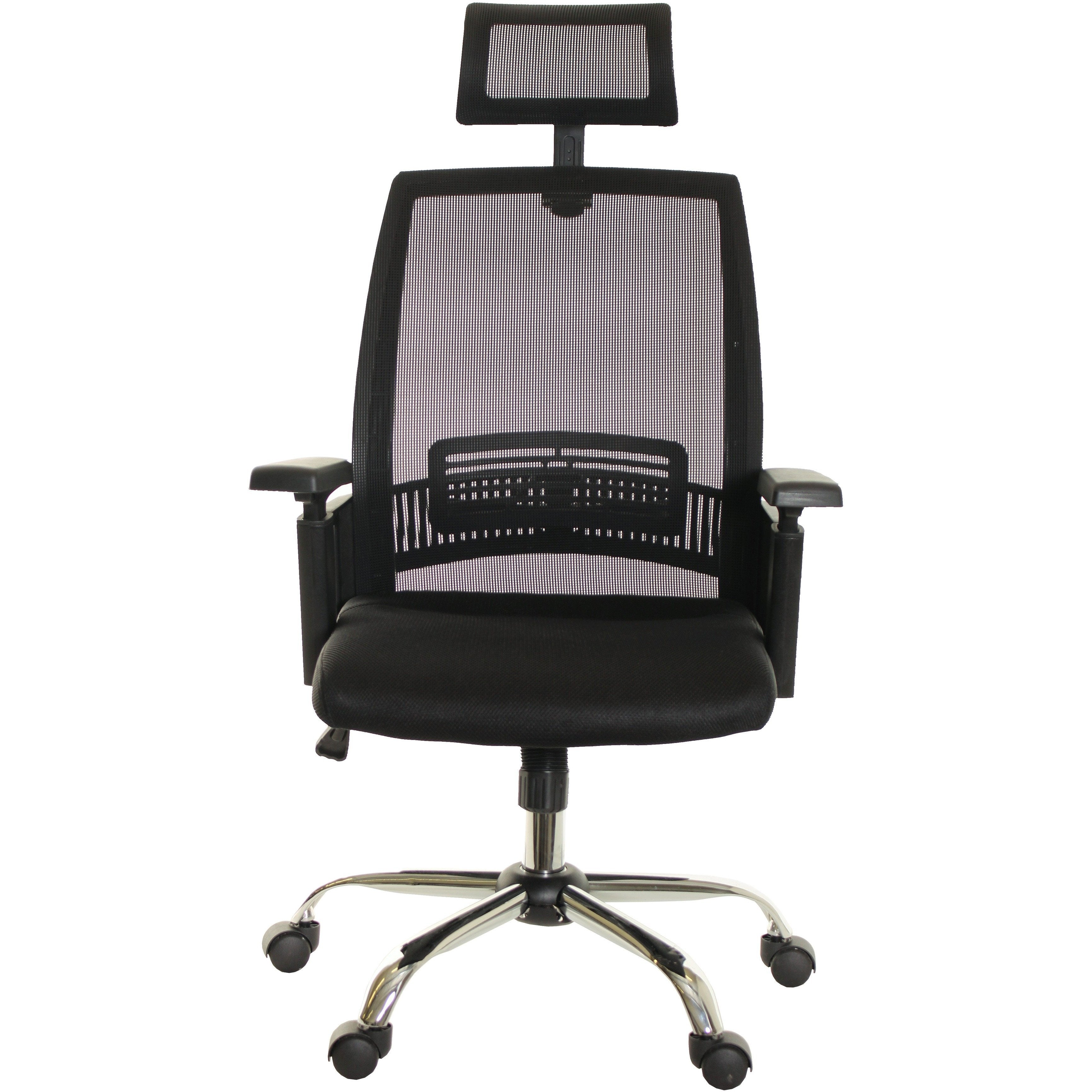 Mesh Task Chair Office High Back Black With Headrest Metal Base By TimeOffice