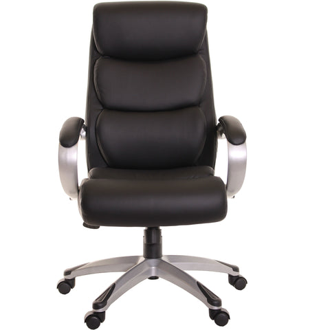 High Back Executive Leather Ergonomic Chair with Armrest-Black by TimeOffice