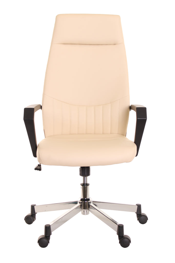 High Back Leather Task Chair Ergonomic Ivory by TimeOffice - Time Office Furniture