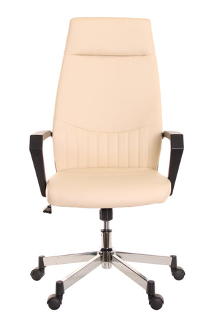 High Back Leather Task Chair Ergonomic Ivory By TimeOffice   Time Office  Furniture