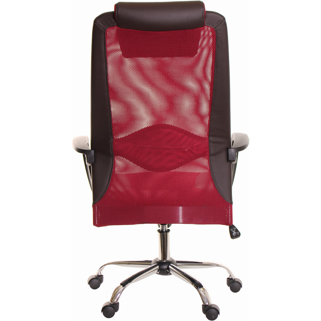 Brown & Red Mesh and Leather Task Office Chair with Headrest by TimeOffice - Time Office Furniture