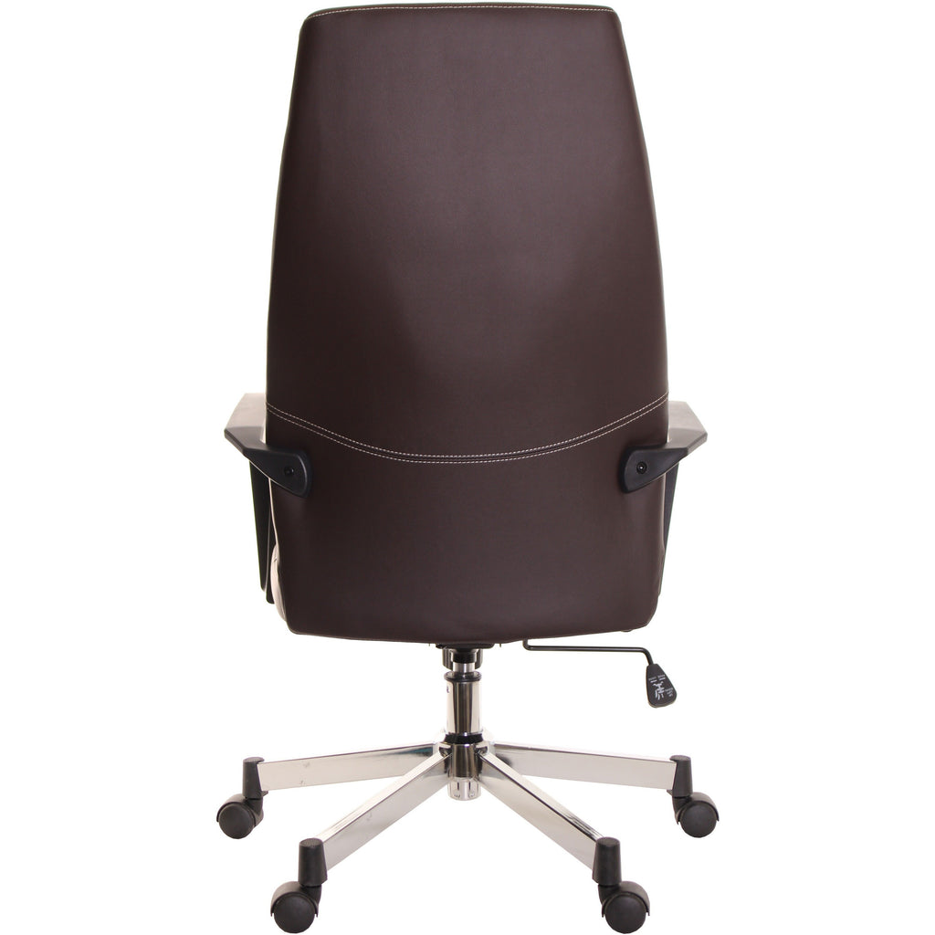 High Back Leather Task Chair Ergonomic Brown by TimeOffice - Time Office Furniture
