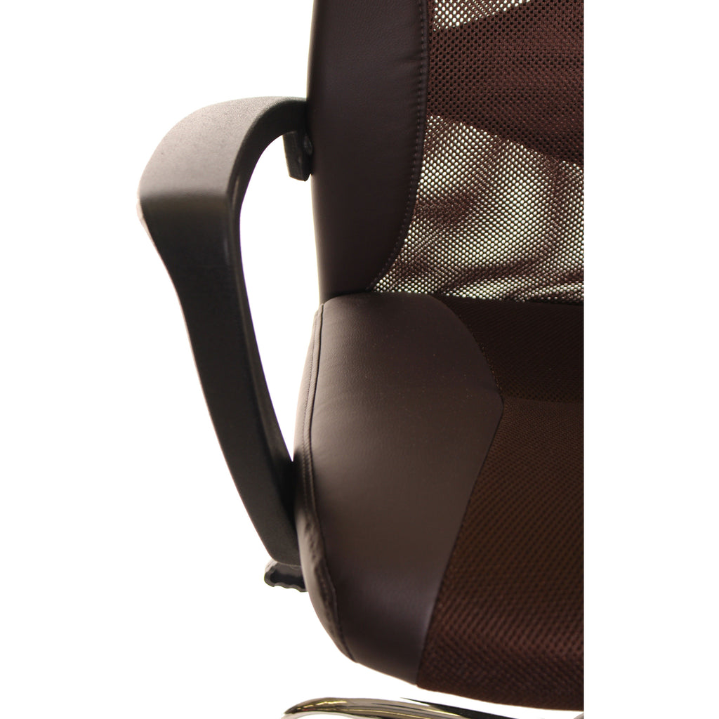 Brown Mesh and Leather Task Office Chair with Headrest by TimeOffice - Time Office Furniture
