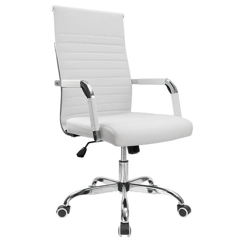 Furmax Ribbed Office Chair Mid-Back PU Leather Executive Conference Chair - Time Office Furniture