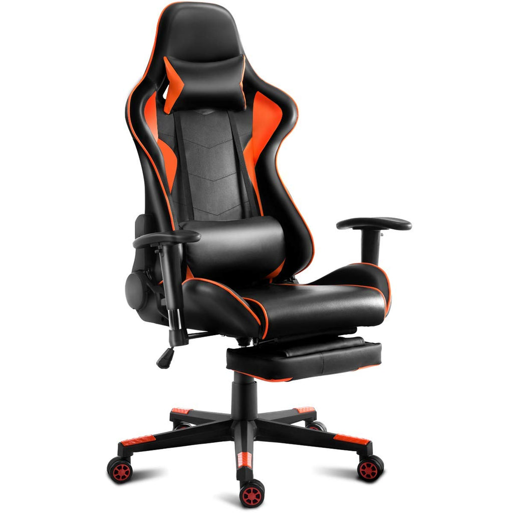 Black and Orange High Back Ergonomic Giantex Gaming Chair - Time Office Furniture