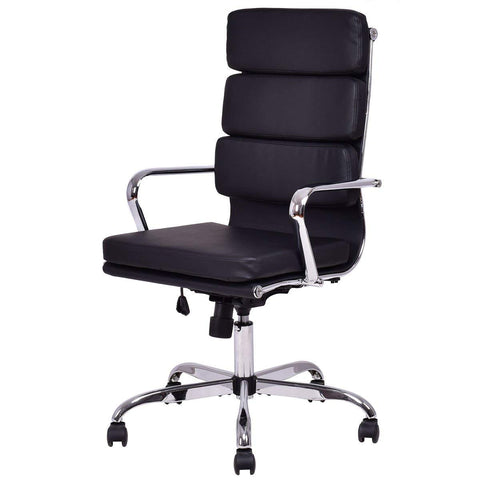 High Back Giantex PU Leather Executive Office Chair Computer Desk Task Swivel Black - Time Office Furniture