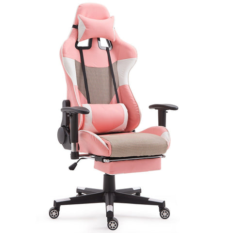 Pink High Back Ergonomic Giantex Gaming Chair - Time Office Furniture
