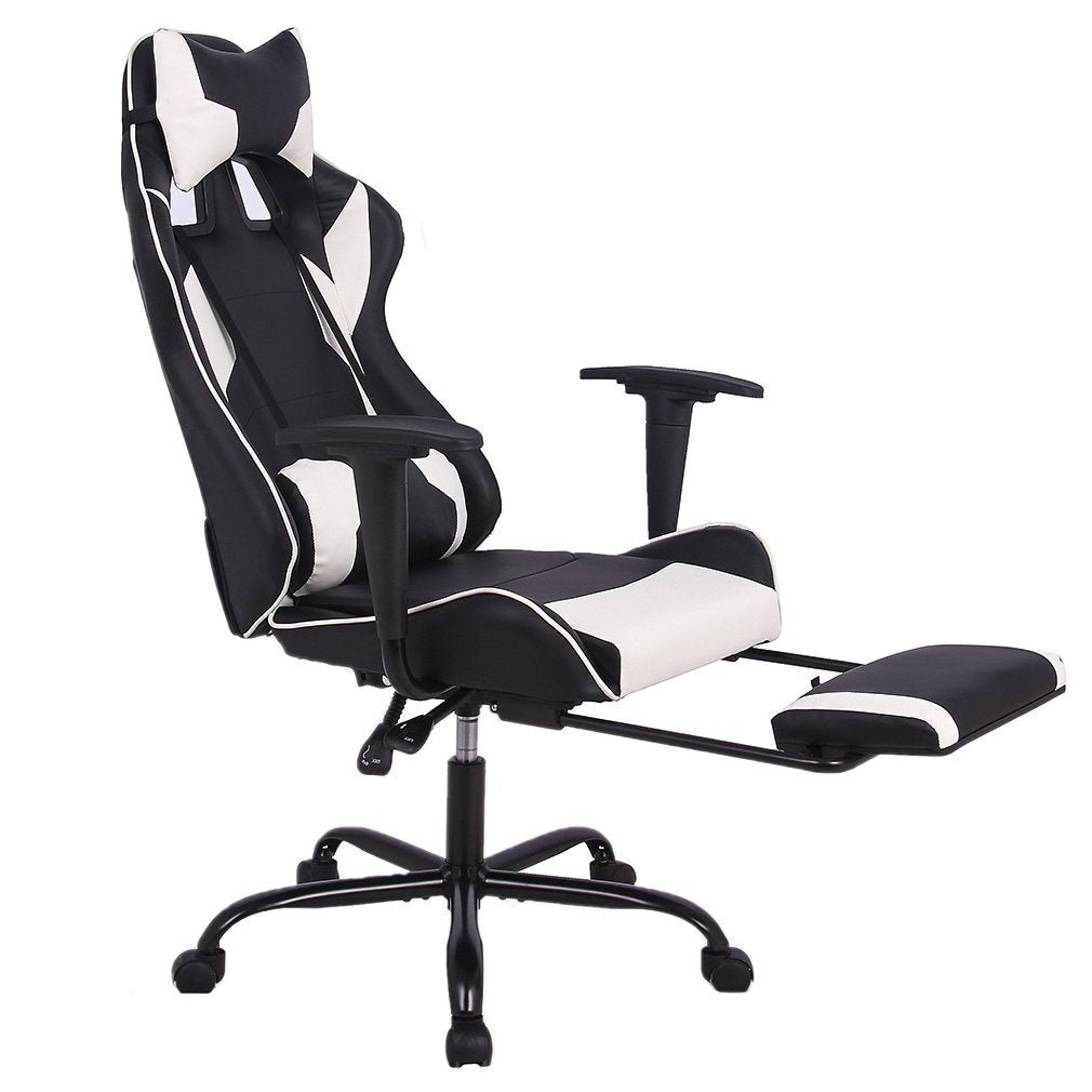 Office Chair Gaming Chair Ergonomic Swivel Chair High Back Racing Chair Footrest Lumbar Support Headrest - Time Office Furniture
