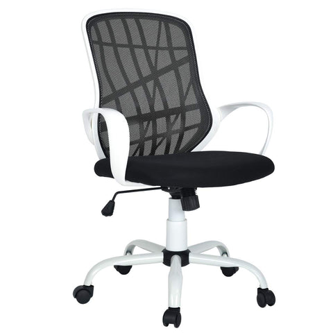 Office Chair Mesh Mid-Back Swivel Task Chair with Special Design Back,White-Black - Time Office Furniture