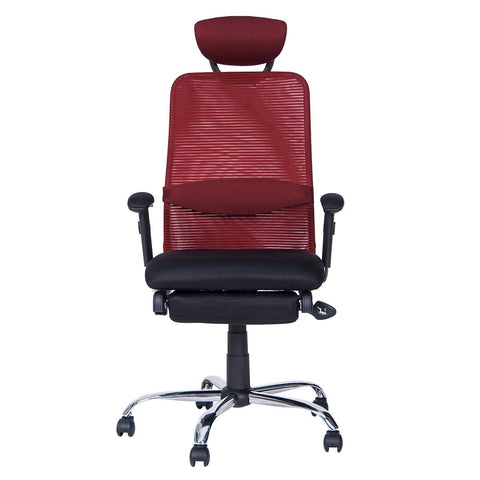 Merax Ergonomic Series Lunch Break Office Reclining Mesh Chair (Red) - Time Office Furniture