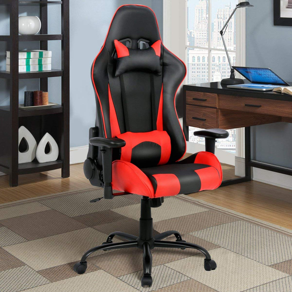 Red and Black High Back Giantex Gaming Chair with Lumbar Support - Time Office Furniture