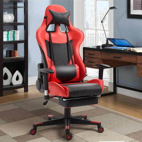 Red and Black High Back Ergonomic Giantex Gaming Chair - Time Office Furniture