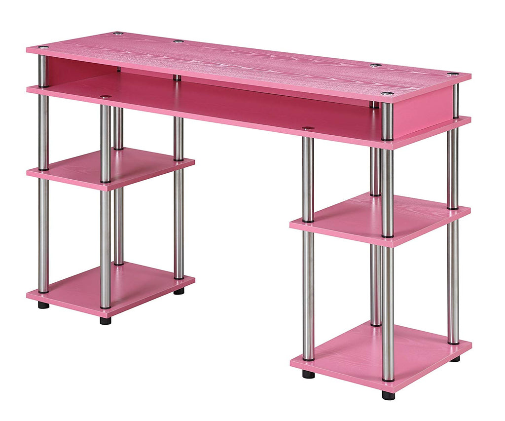 Pink Convenience Concepts Designs2Go No Tools Student Desk - Time Office Furniture