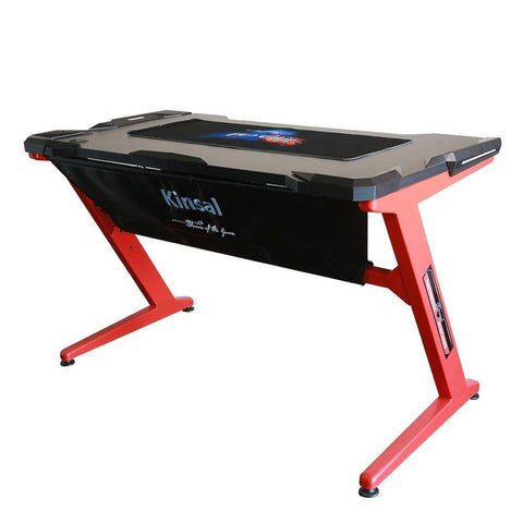 Kinsal Gaming Desk Computer Z-Shaped Desk Table With LED