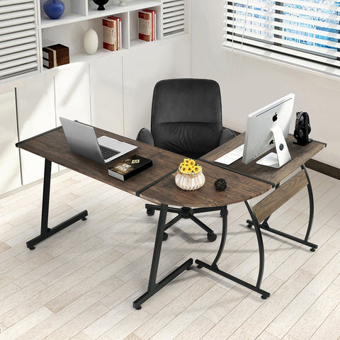 GreenForest Office Desk L-Shape Corner Computer PC Table Workstation 3-Piece for Home,Switch 2 Sides - Time Office Furniture