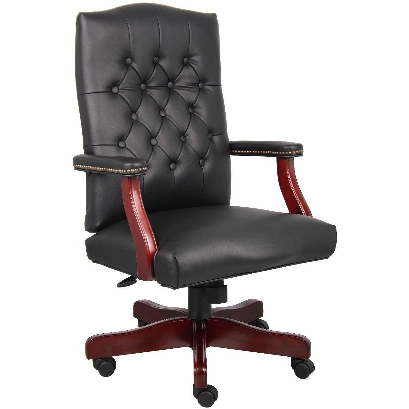 tufted leather executive office chair real leather midback traditional tufted leather executive office chairblack by timeoffice