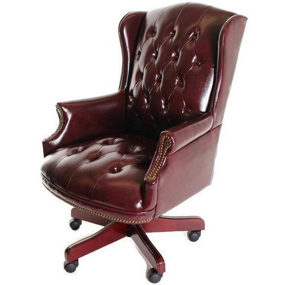 Traditional Executive Chair Button Tufted Style Leather by TimeOffice - Time Office Furniture