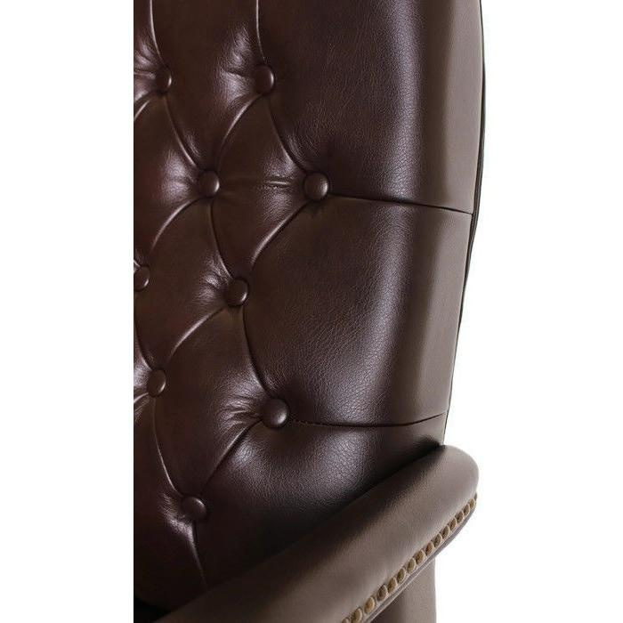 Mid Back Traditional Tufted Leather Executive Office Chair Brown By  TimeOffice