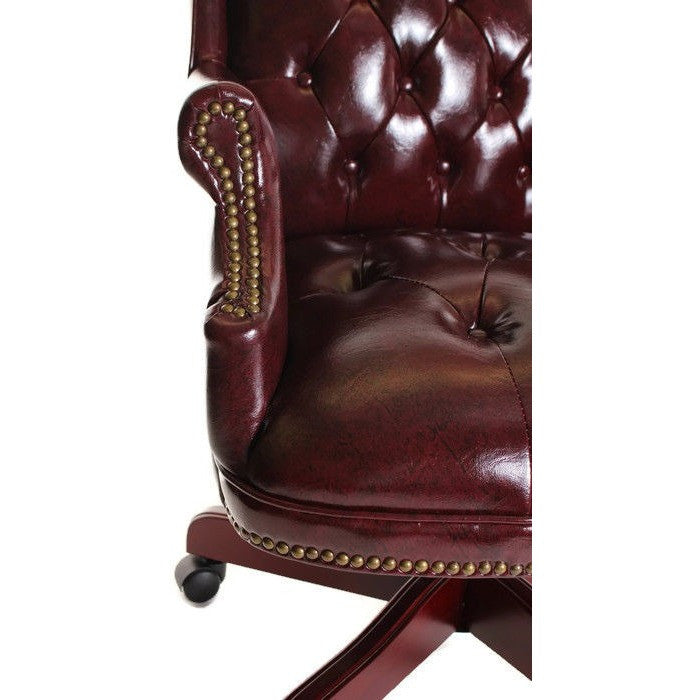 Traditional Executive Chair Button Tufted Style Leather By TimeOffice