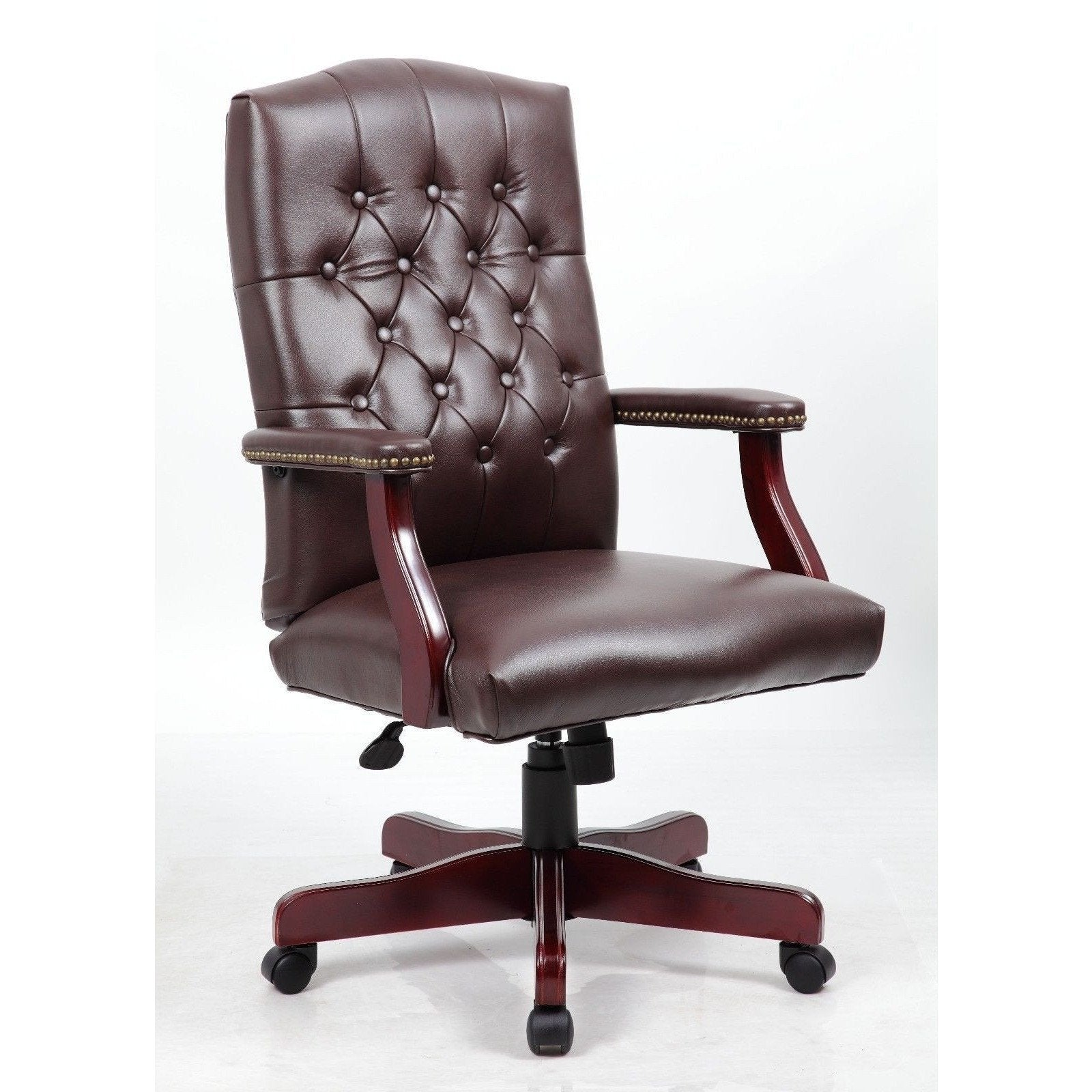Mid back Traditional Tufted Leather Executive fice Chair Brown