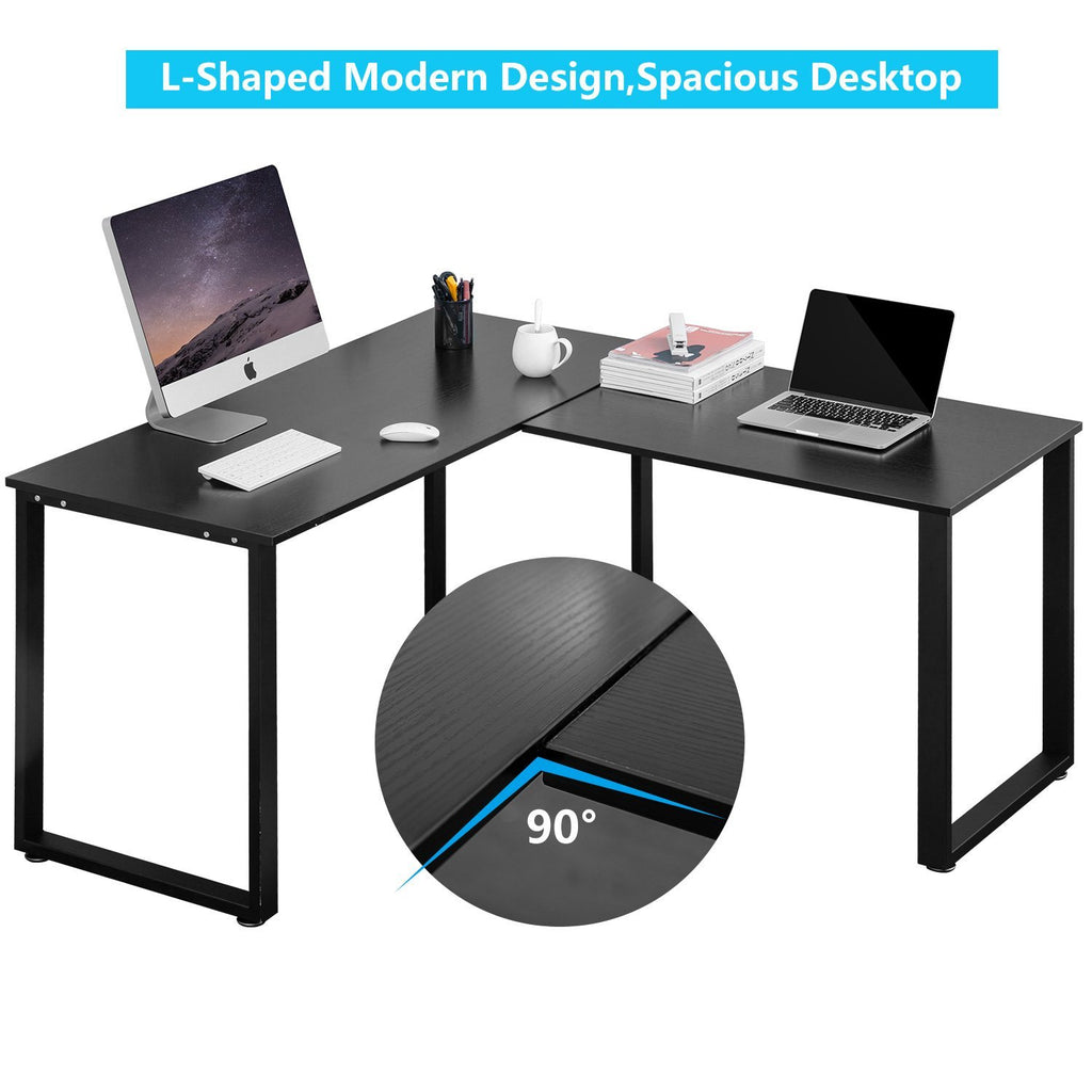 L-Shaped Office Workstation Computer Corner Home Wood Laptop Table Study Desk - Time Office Furniture
