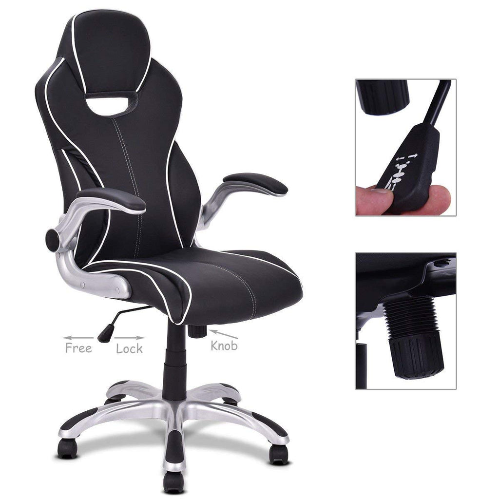 Black High Back Executive Racing Style Office Chair Gaming Chair Adjustable Armrest - Time Office Furniture