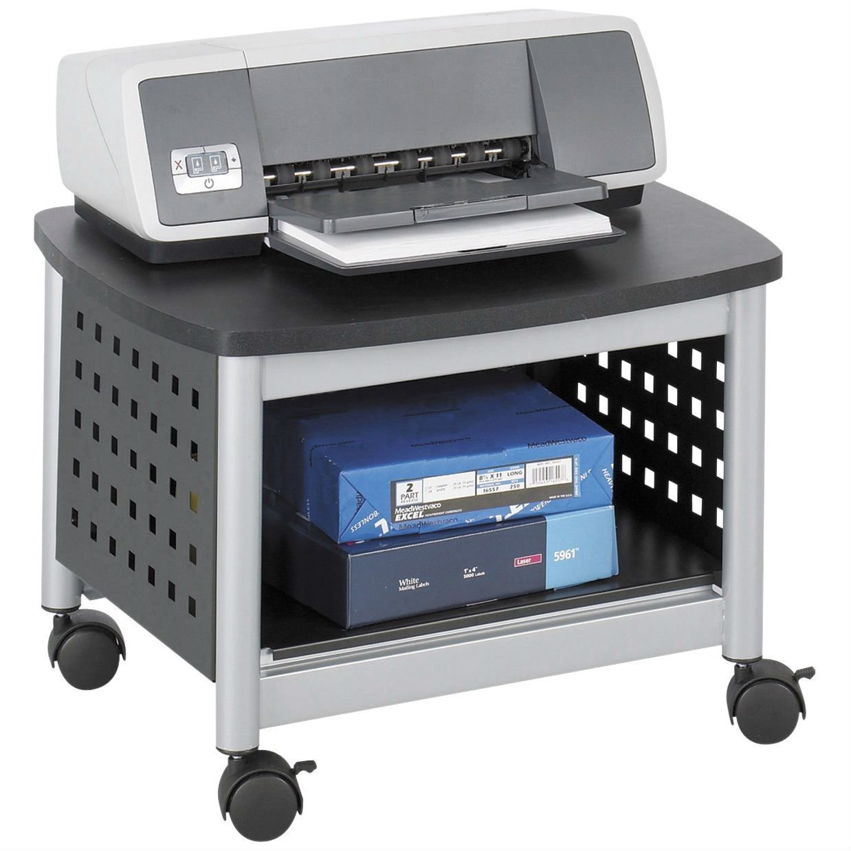 Superieur Under Desk Printer Stand Mobile Office Cart In Black And Silver