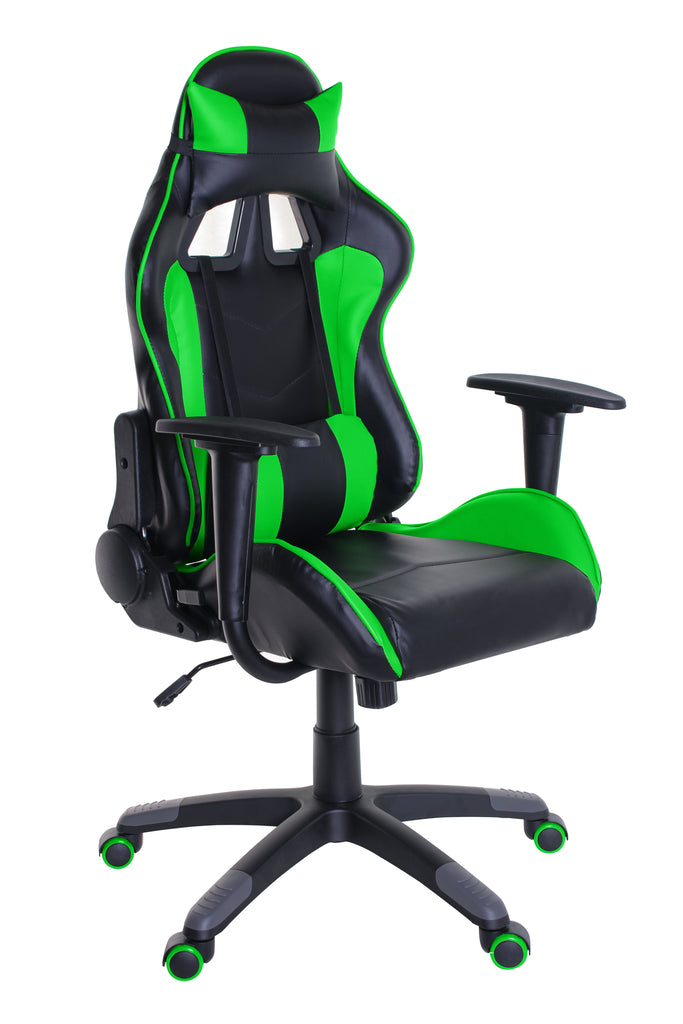TimeOffice Ergonomic Gaming Chair Race Car Style with PU leather and Lumbar&Head Cushion for Computer Gaming and Office Working,Green - Time Office Furniture
