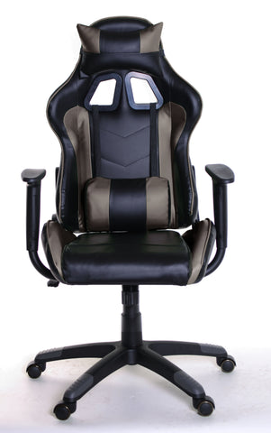 TimeOffice Ergonomic Gaming Chair Race Car Style with PU leather and Lumbar&Head Cushion for Computer Gaming and Office Working,Brown - Time Office Furniture