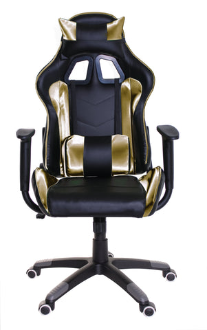 TimeOffice Ergonomic Gaming Chair Race Car Style with PU leather and Lumbar&Head Cushion for Computer Gaming and Office Working,Gold