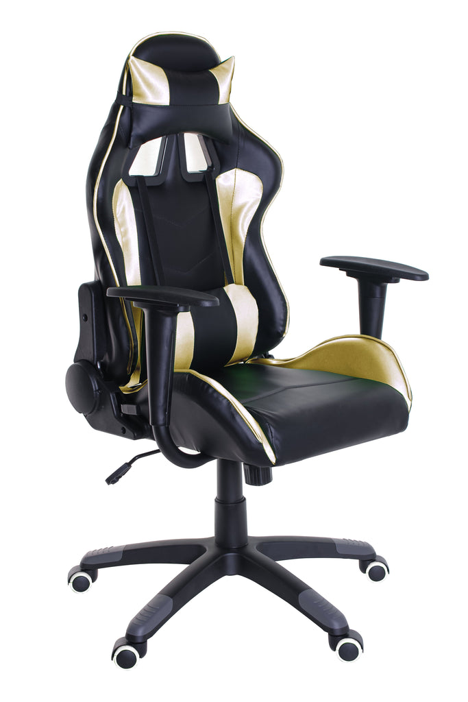 TimeOffice Ergonomic Gaming Chair Race Car Style with PU leather and Lumbar&Head Cushion for Computer Gaming and Office Working,Gold - Time Office Furniture