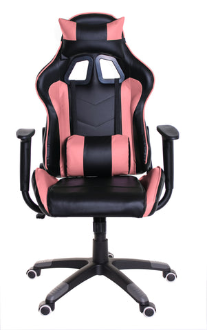 TimeOffice Ergonomic Gaming Chair Race Car Style with PU leather and Lumbar&Head Cushion for Computer Gaming and Office Working,Pink - Time Office Furniture