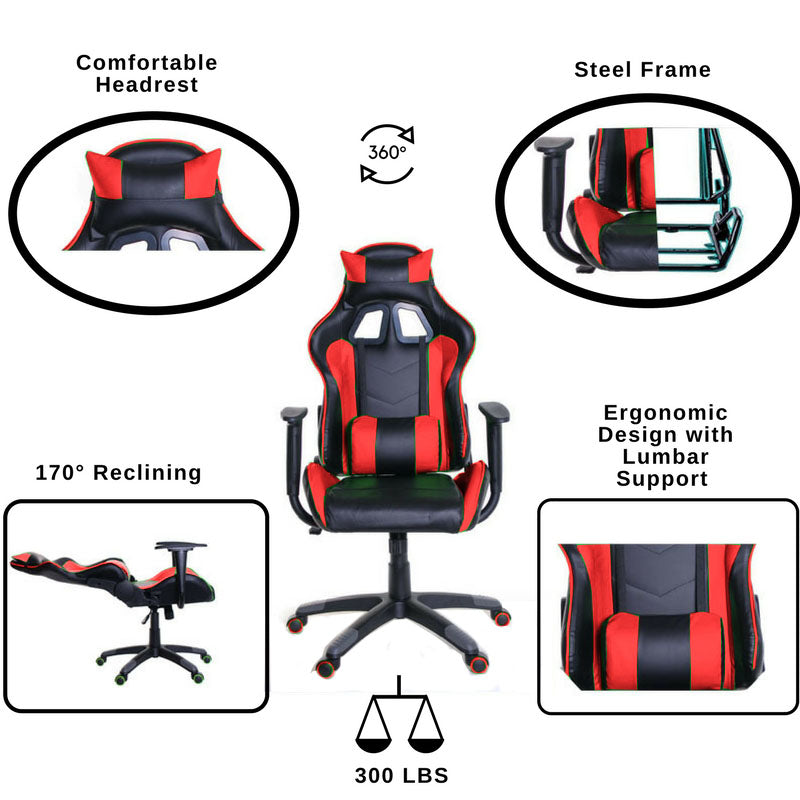 TimeOffice Ergonomic Gaming Chair Race Car Style with PU leather and Lumbar&Head Cushion for Computer Gaming and Office Working,Red - Time Office Furniture