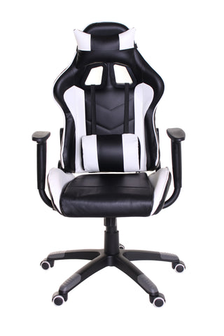 TimeOffice Ergonomic Gaming Chair Race Car Style with PU leather and Lumbar&Head Cushion for Computer Gaming and Office Working,White