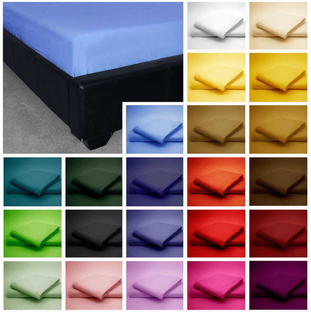 ... FITTED SHEETS PERCALE SINGLE DOUBLE KING SUPER KING SIZE POLYCOTTON