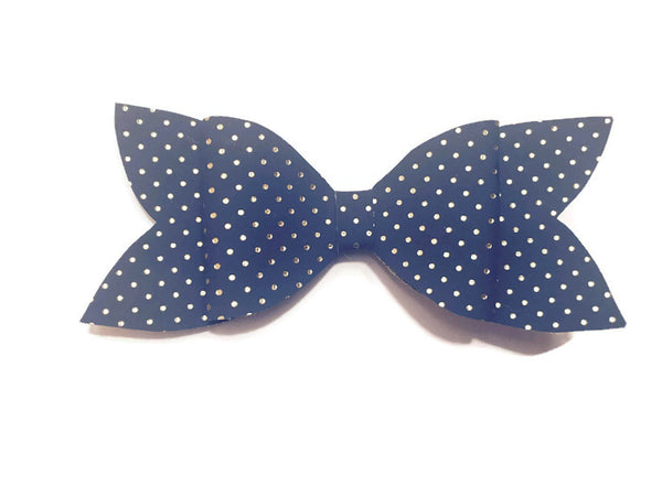 Navy and Gold Dots Bow