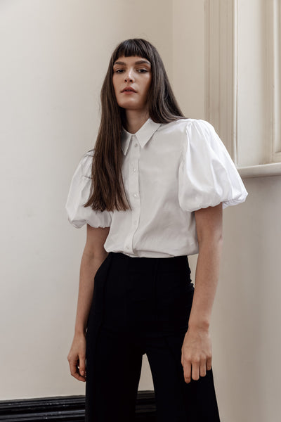 kalaurie white deadstock cotton short puffy sleeve statement shirt & pinstripe wool pants, ethically handcrafted in melbourne