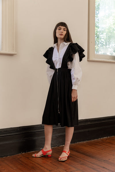 kalaurie white deadstock cotton bishop sleeve statement shirt with black linen viscose ruffle pinafore ethically and sustainably made in melbourne