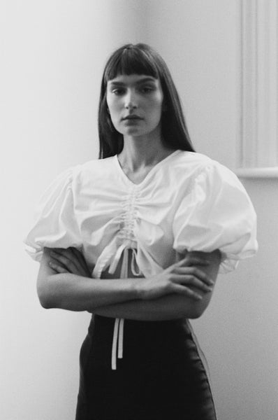 white puffy sleeve cotton blouse by melbourne ethical and sustainable designer kalaurie
