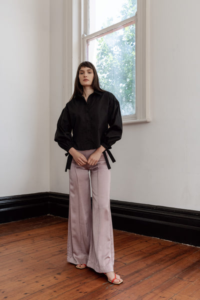 kalaurie black deadstock drop shoulder tie shirt with pink satin pants ethically and sustainably made in melbourne