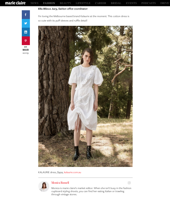 Kalaurie editors picks feature on Marie Claire online