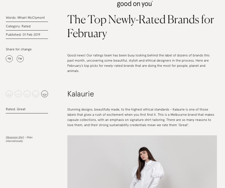 Kalaurie x Good On You ethical brand ratings