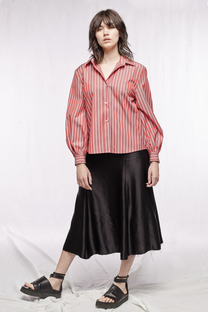 CATHERINE SHIRT - Limited edition dusty red stripes