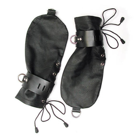 KinkLab Leather Bondage Mittens